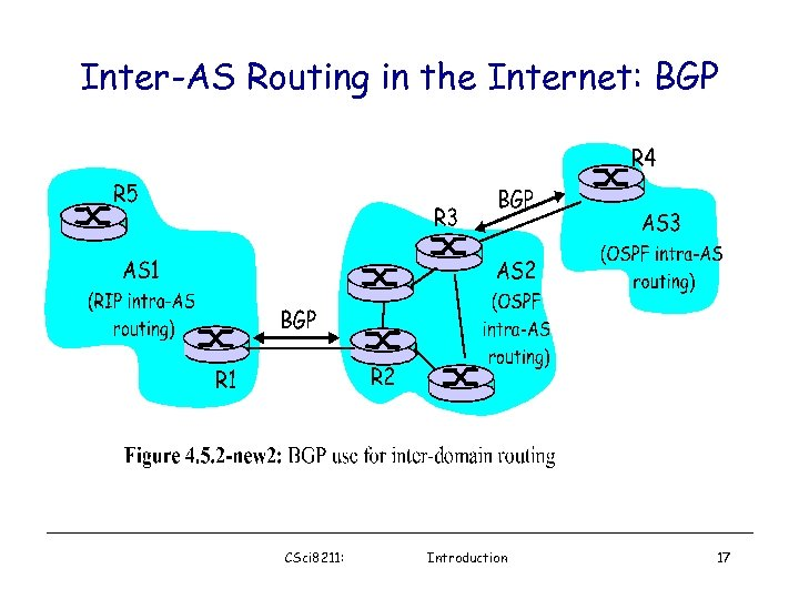 Inter-AS Routing in the Internet: BGP CSci 8211: Introduction 17