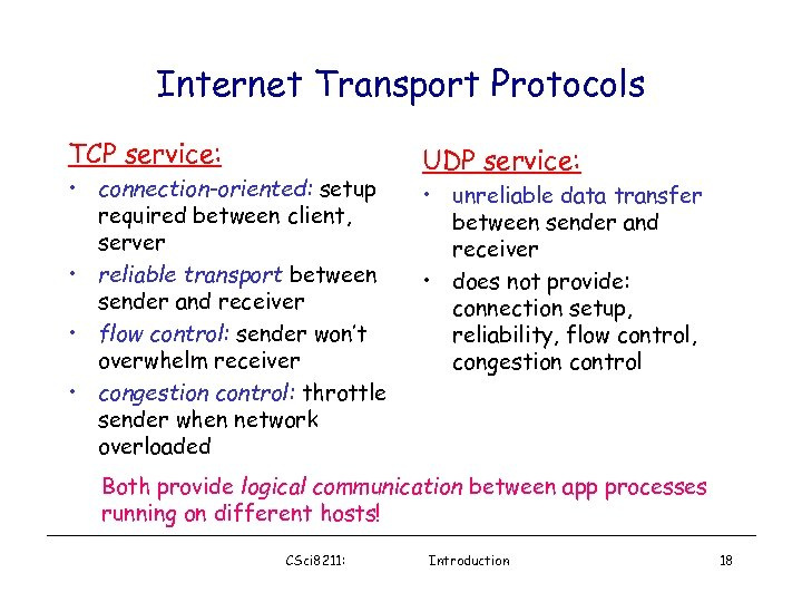 Internet Transport Protocols TCP service: • connection-oriented: setup required between client, server • reliable