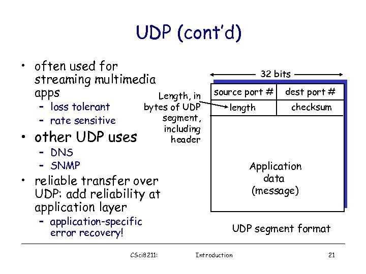 UDP (cont'd) • often used for streaming multimedia apps Length, in – loss tolerant
