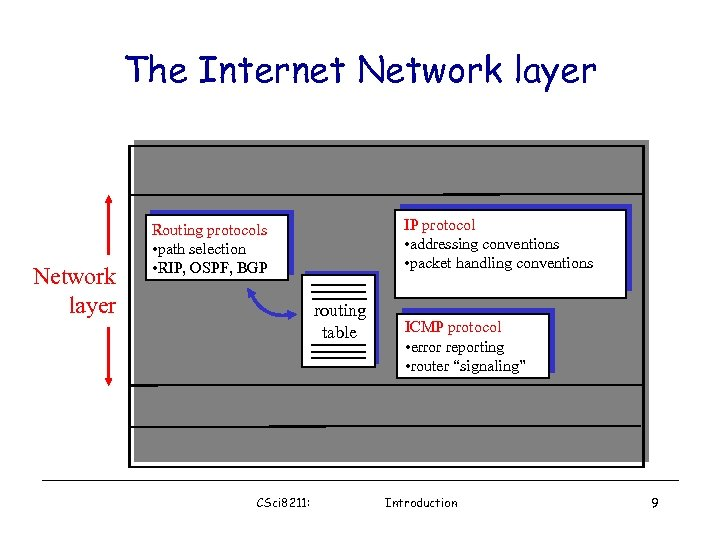 The Internet Network layer Transport layer: TCP, UDP Network layer IP protocol • addressing