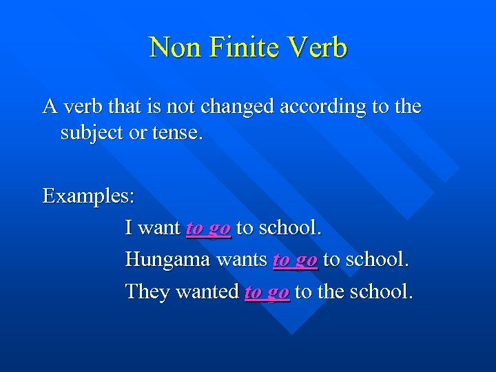 Non Finite Verb A verb that is not changed according to the subject or