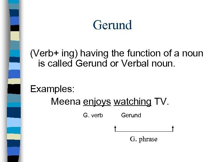 Gerund (Verb+ ing) having the function of a noun is called Gerund or Verbal