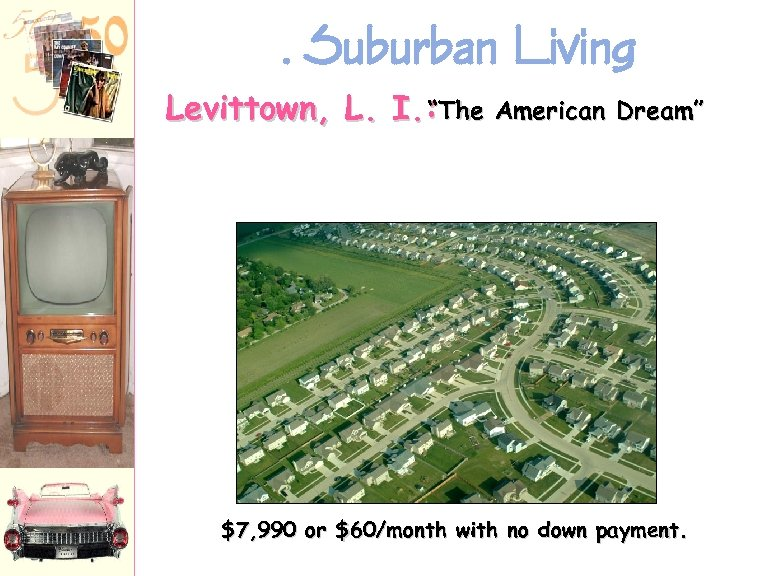 ". Suburban Living Levittown, L. I. : ""The American Dream"" $7, 990 or $60/month"