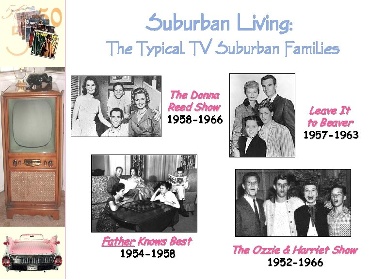 Suburban Living: The Typical TV Suburban Families The Donna Reed Show 1958 -1966 Leave
