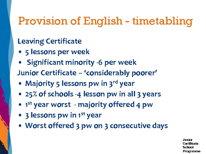 Provision of English - timetabling Leaving Certificate • 5 lessons per week • Significant