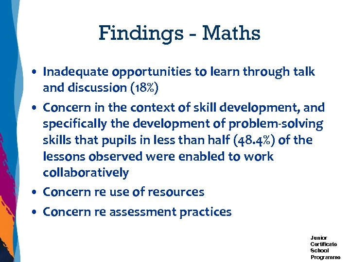 Findings - Maths • Inadequate opportunities to learn through talk and discussion (18%) •