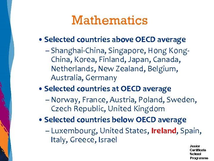 Mathematics • Selected countries above OECD average – Shanghai-China, Singapore, Hong Kong. China, Korea,