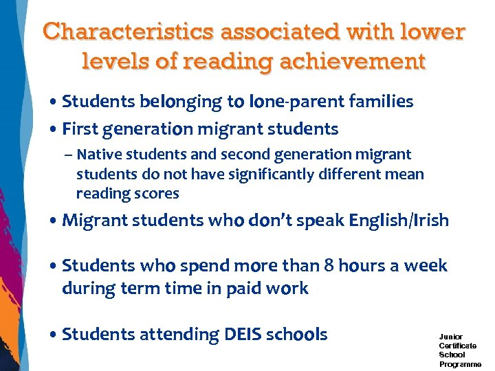 Characteristics associated with lower levels of reading achievement • Students belonging to lone-parent families