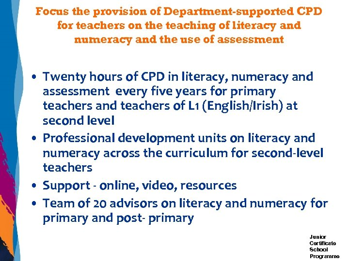 Focus the provision of Department-supported CPD for teachers on the teaching of literacy and