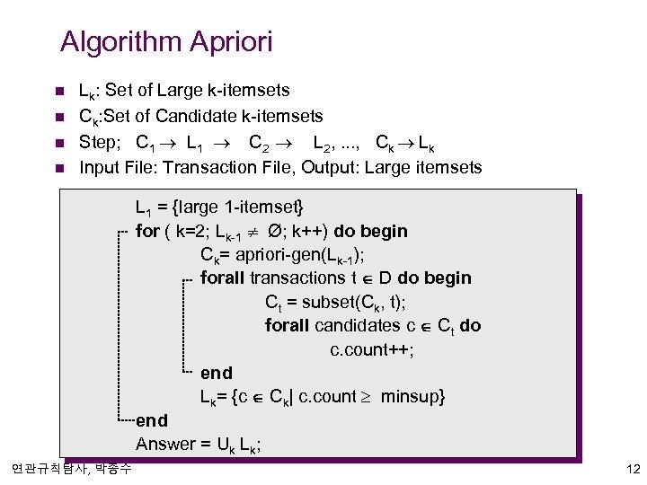 Algorithm Apriori n n Lk: Set of Large k-itemsets Ck: Set of Candidate k-itemsets