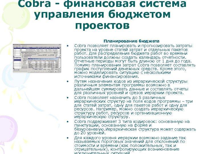 Cobra - финансовая система управления бюджетом проектов • • • Планирование бюджета Cobra позволяет