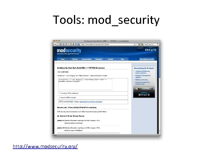 Tools: mod_security http: //www. modsecurity. org/