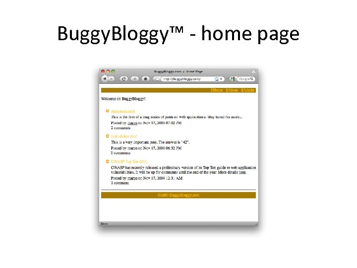 Buggy. Bloggy™ - home page