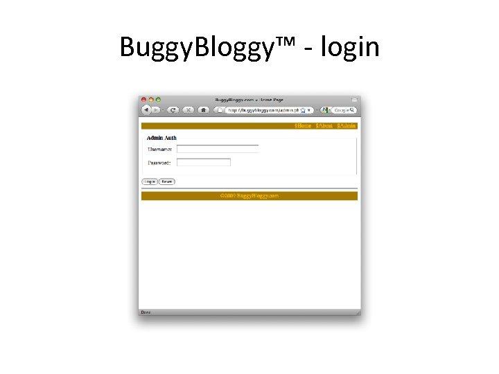 Buggy. Bloggy™ - login