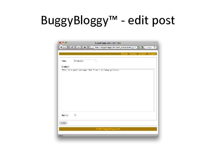 Buggy. Bloggy™ - edit post