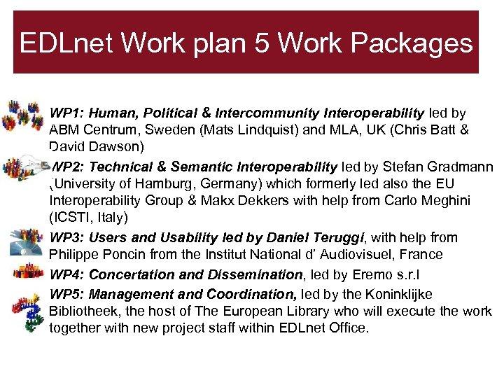 EDLnet Work plan 5 Work Packages • WP 1: Human, Political & Intercommunity Interoperability