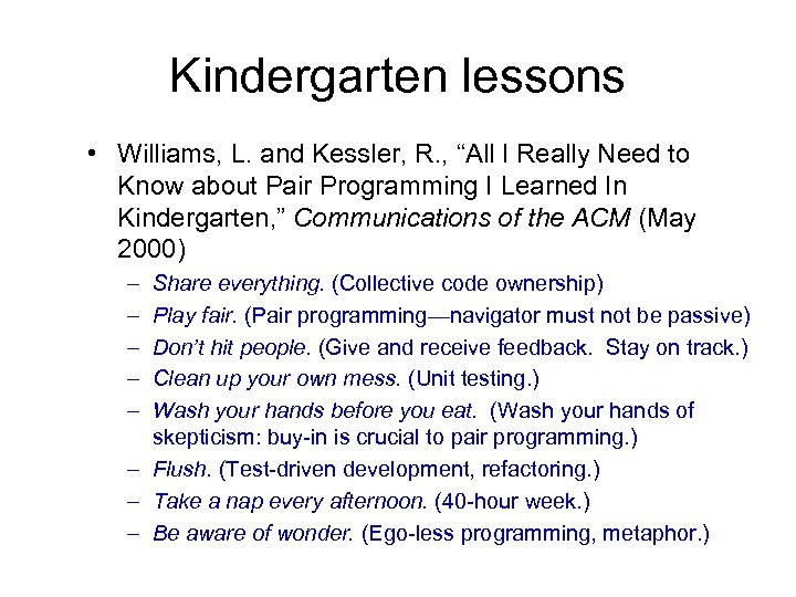 """Kindergarten lessons • Williams, L. and Kessler, R. , """"All I Really Need to"""