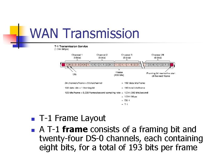 WAN Transmission n n T-1 Frame Layout A T-1 frame consists of a framing