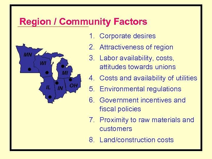 Region / Community Factors 1. Corporate desires 2. Attractiveness of region MN 3. Labor