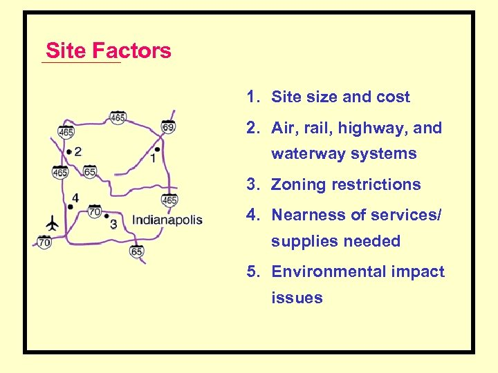 Site Factors 1. Site size and cost 2. Air, rail, highway, and waterway systems