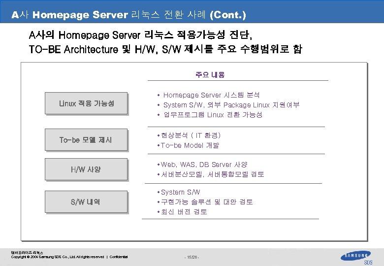 A사 Homepage Server 리눅스 전환 사례 (Cont. ) III. 관계사 분석 사례 A사의 Homepage