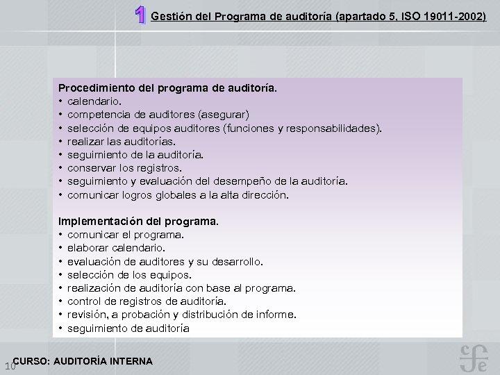 Gestión del Programa de auditoría (apartado 5, ISO 19011 -2002) Procedimiento del programa de