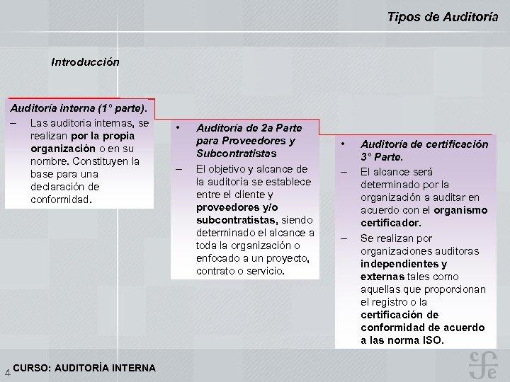 Tipos de Auditoría Introducción Auditoría interna (1° parte). – Las auditoria internas, se realizan