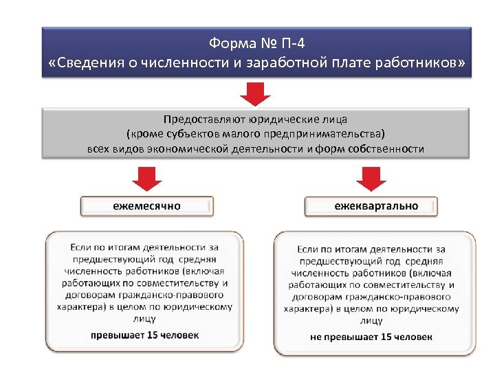 Форма № П-4 «Сведения о численности и заработной плате работников» Предоставляют юридические лица (кроме