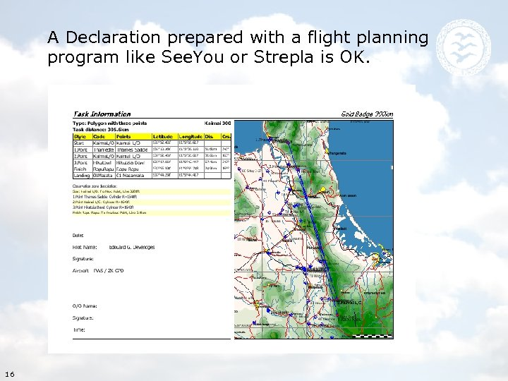 A Declaration prepared with a flight planning program like See. You or Strepla is