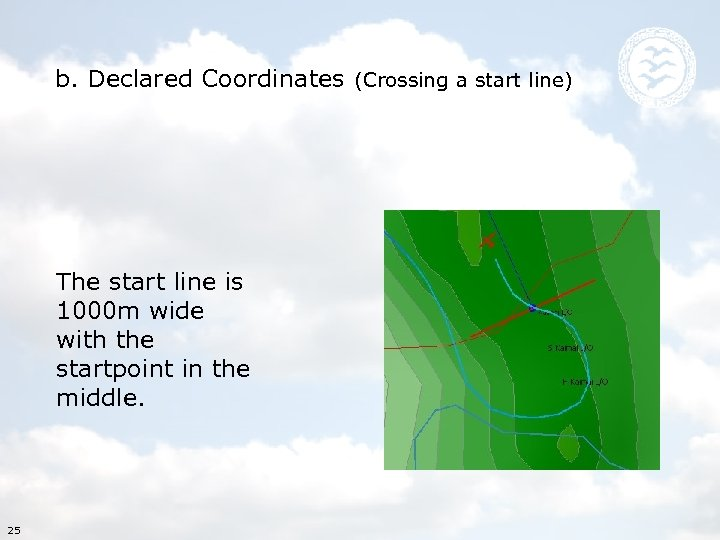 b. Declared Coordinates (Crossing a start line) The start line is 1000 m wide
