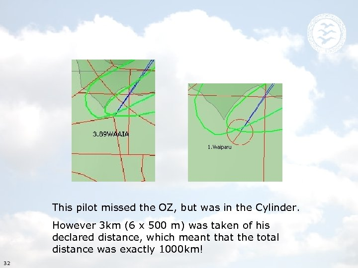 This pilot missed the OZ, but was in the Cylinder. However 3 km (6
