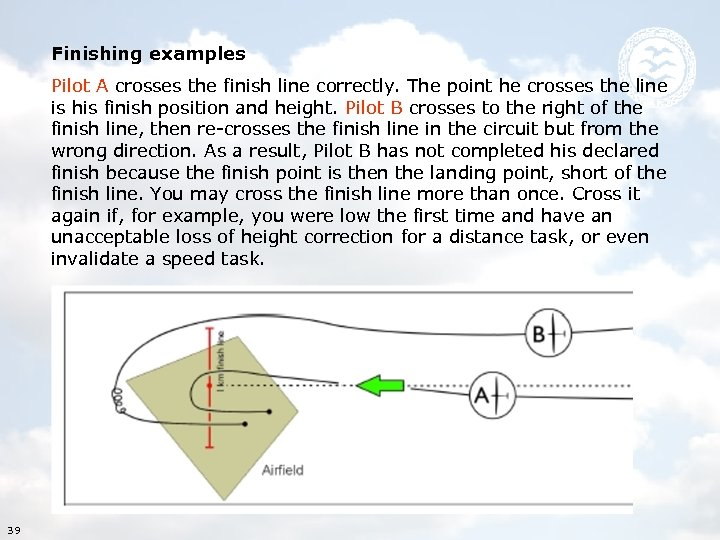 Finishing examples Pilot A crosses the finish line correctly. The point he crosses the