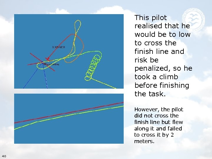 This pilot realised that he would be to low to cross the finish line