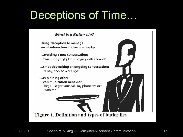 Deceptions of Time… 3/19/2018 Cheshire & King — Computer-Mediated Communication 17
