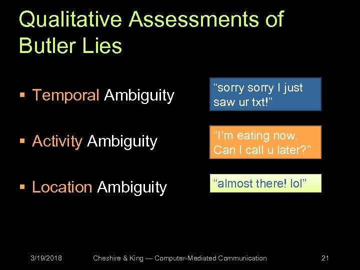 """Qualitative Assessments of Butler Lies § Temporal Ambiguity """"sorry I just saw ur txt!"""""""