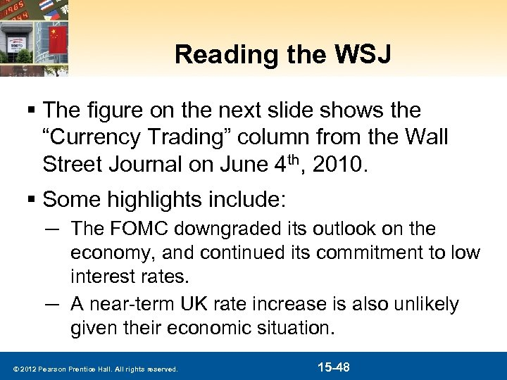 """Reading the WSJ § The figure on the next slide shows the """"Currency Trading"""""""