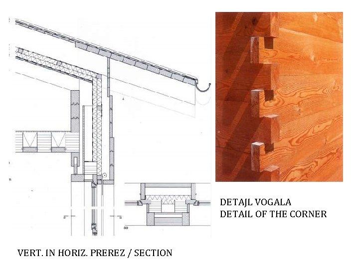 DETAJL VOGALA DETAIL OF THE CORNER VERT. IN HORIZ. PREREZ / SECTION