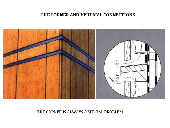 THE CORNER AND VERTICAL CONNECTIONS THE CORNER IS ALWAYS A SPECIAL PROBLEM