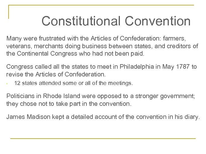 the deficiencies of the us articles of confederation The articles of confederation was the original binding document of the united states and served as the supreme law of the land from march 1, 1781 until the ratification of the united states.