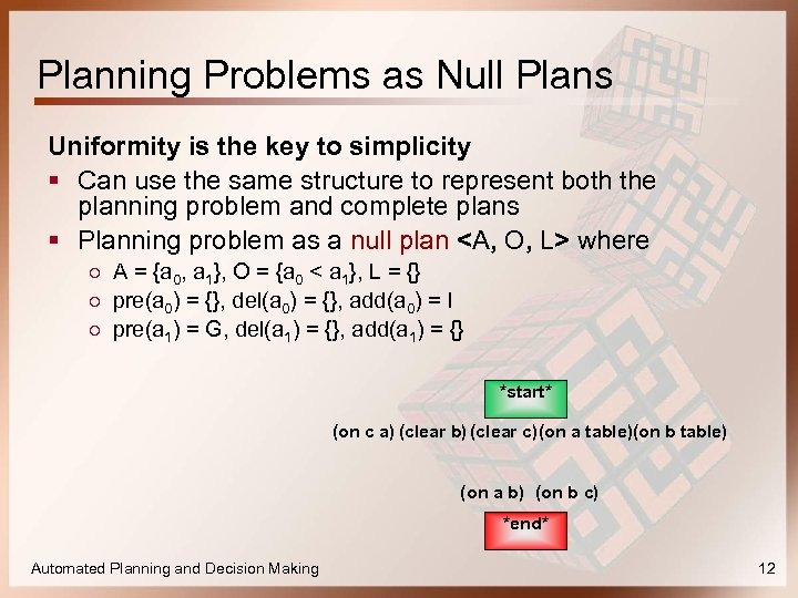 Planning Problems as Null Plans Uniformity is the key to simplicity § Can use
