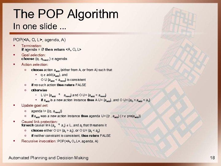 The POP Algorithm In one slide. . . POP(<A, O, L>, agenda, A) §