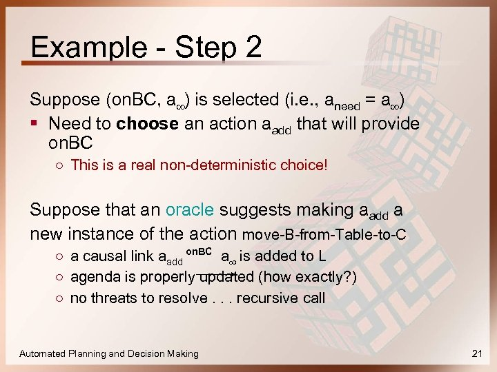 Example - Step 2 Suppose (on. BC, a∞) is selected (i. e. , aneed