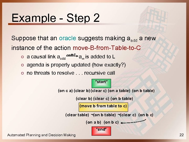 Example - Step 2 Suppose that an oracle suggests making aadd a new instance