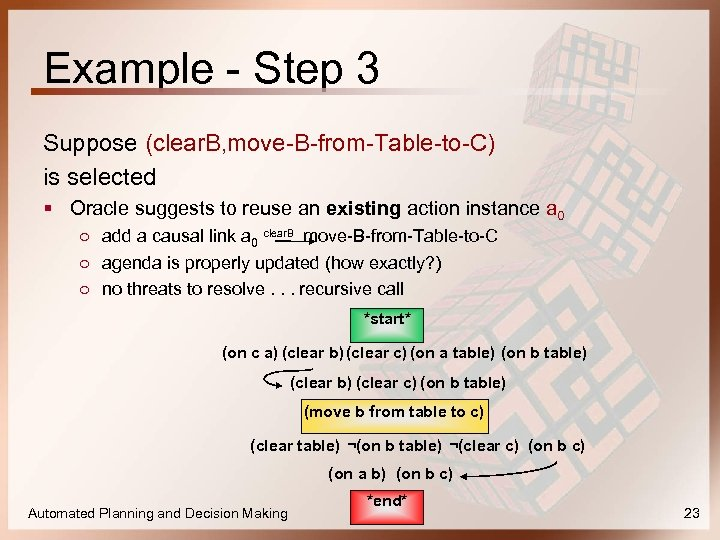 Example - Step 3 Suppose (clear. B, move-B-from-Table-to-C) is selected § Oracle suggests to