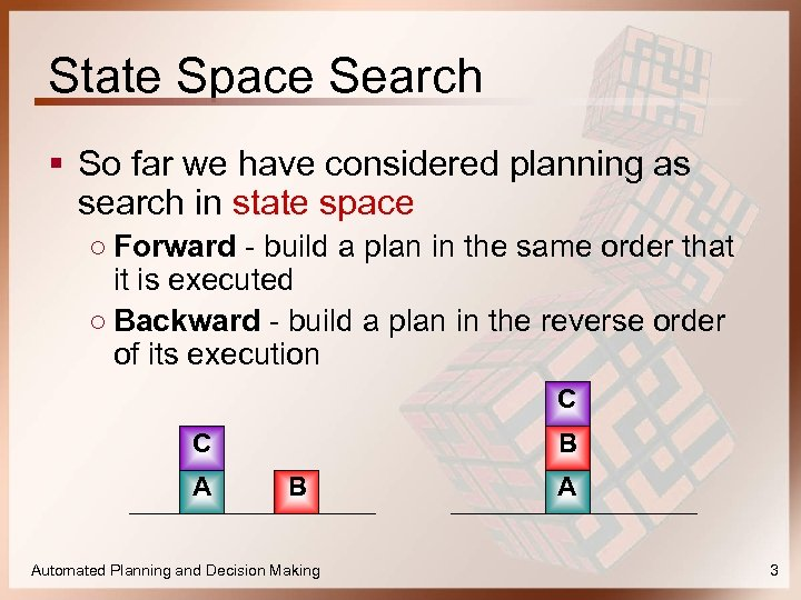 State Space Search § So far we have considered planning as search in state