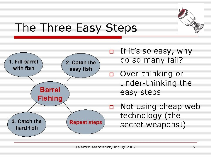 The Three Easy Steps o 1. Fill barrel with fish 2. Catch the easy