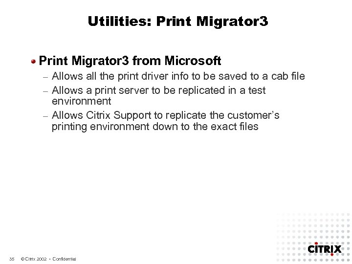Utilities: Print Migrator 3 from Microsoft Allows all the print driver info to be