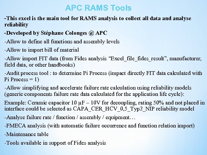 APC RAMS Tools -This excel is the main tool for RAMS analysis to collect