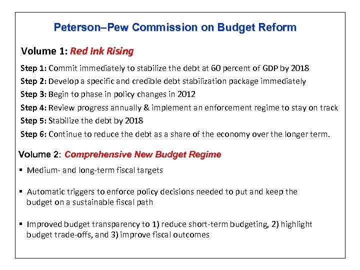 Peterson–Pew Commission on Budget Reform Volume 1: Red Ink Rising Step 1: Commit immediately