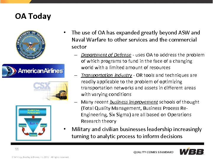 OA Today • The use of OA has expanded greatly beyond ASW and Naval
